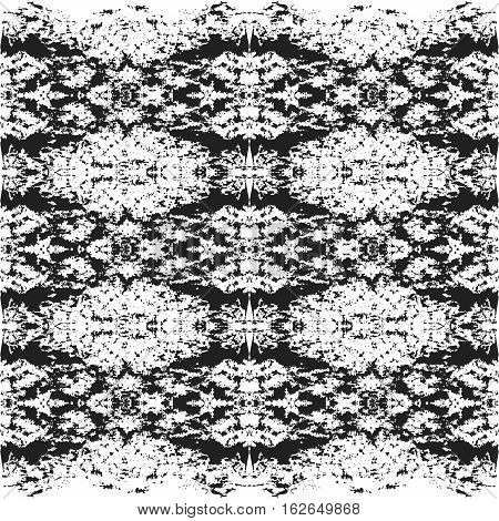 Abstract vector texture. Monochrome background from black dots on white. Lace or ink symmetric ornament for card template or web design. Achromatic square image for backdrop in kaleidoscope style