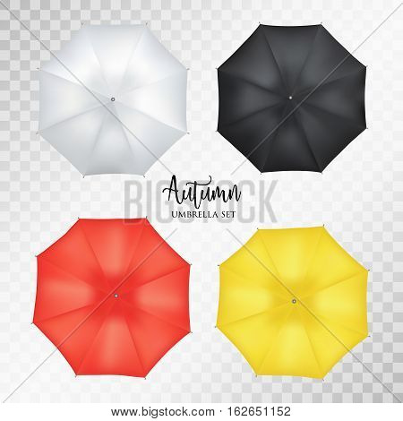 Vector realistic parasol rain umbrella, Sunshade set on transparent background .Blank Classic Opened Round Mock up isolated .top View. illustration object for advertising, poster, banner design.