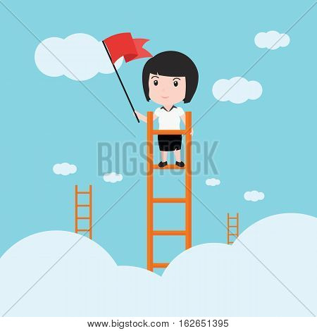 Business Woman, A Ladder Corporate Of Success.