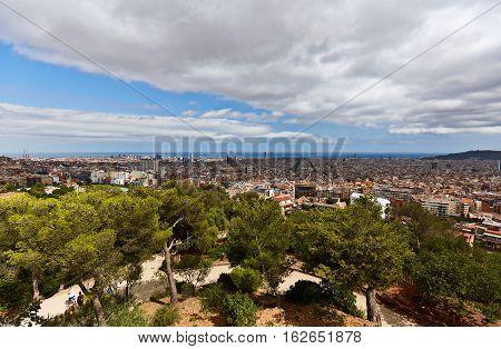 Beautiful views of Barcelona from Park Güell