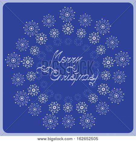 Bulk silver snowflakes. Congratulations on Christmas. Design for holiday cards, greetings, invitations to gala evening ceremony.