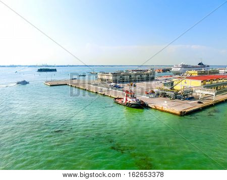 Venice, Italy - June 06, 2015: Cruise port of Venice, Italy on a background of the roofs on June 06, 2015
