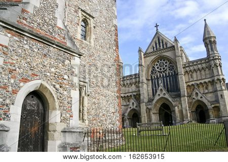 old buildings around ancient cathedral of st albans in hertforshire england uk