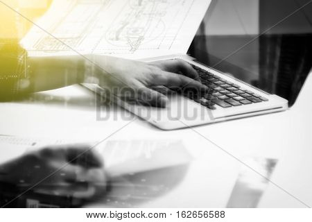 Double Exposure Of Business People Prepare And Reading For Documents And Graph Diagram, Film Effect,