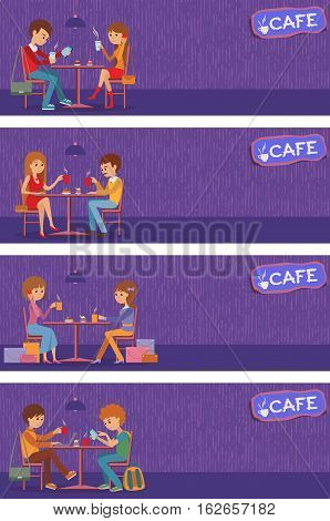 Couples of people in cafe eat, drink and use phone. Templates for flyers and banners. Vector Illustration with men and women at tables on violet background.
