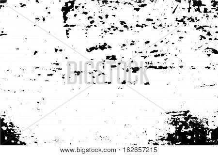 Grunge vector texture of weathered surface. Obsolete wood wall vector trace. Distressed effect layer for vector images. Stains and scratches in black image. Natural painted wood texture empty card