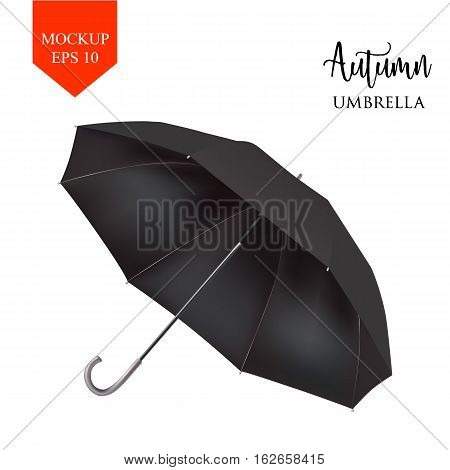 Vector realistic parasol rain umbrella, Sunshade set. black colored, isolated .Blank Classic Round slanted Mock up isolated .Side View, slanted .object for advertising, poster, banner design.