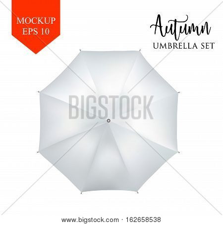 Vector realistic parasol rain umbrella, Sunshade set. white colored, isolated .Blank Classic Round slanted Mock up isolated .top View .object for advertising, poster, banner design.