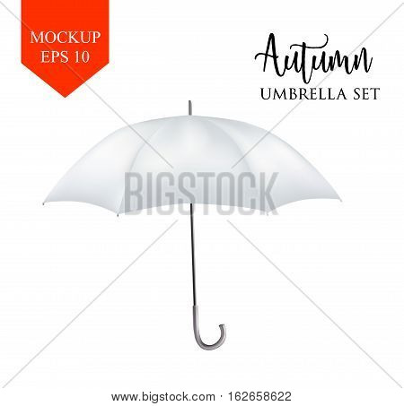 Vector realistic parasol rain umbrella, Sunshade set. white colored, isolated .Blank Classic Round Mock up isolated .Side View, slanted .object for advertising, poster, banner design.