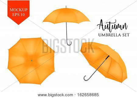 Vector realistic parasol rain umbrella, Sunshade set. orange colored, isolated .Blank Classic Round slanted Mock up isolated .Side, top View.illustration object for advertising, poster, banner design.