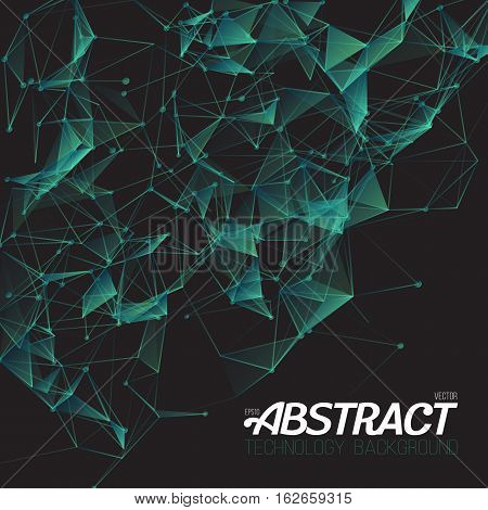 Illustration of Plexus Style Fractal Polygonal Template. Futuristic Energy Wireframe Background. Science DNA Molecule Mesh