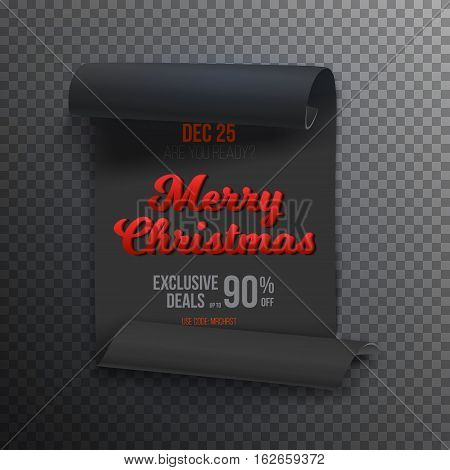 Illustration of Realistic Vector Ribbon Banner Icon. Marry Christmas Vector Scroll Banner Template. Holiday Christmas Season Winter Sale Paper Scroll