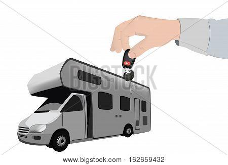 purchase camper give the keys human hand handing keys camper caravan poster