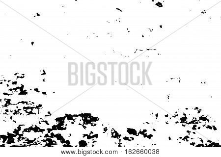 Distressed surface vector illustration. Horizontal image for vintage effect. Vintage texture of old wood wall with paint stains. Black traced texture for vintage effect. Realistic obsolete background