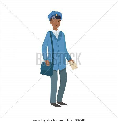 Postman With Handbag, Part Of Happy People And Their Professions Collection Of Vector Characters. Professional Person And Job Attributes And Outfit Cartoon Illustration.