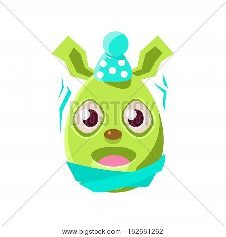 Easter Egg Shaped Green Easter Bunny Schievering With Cold Colorful Girly Religious Holiday Symbol Emoji. Adorable Rabbit As Christian Holyday Traditional Decoration Vector Element.