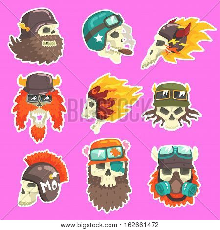 Colorful Scull Stickers With War And Biker Culture Attributes Set Of Vector Icons. Collection Of Creepy Dead Head Prints Cool Cartoon Illustrations.