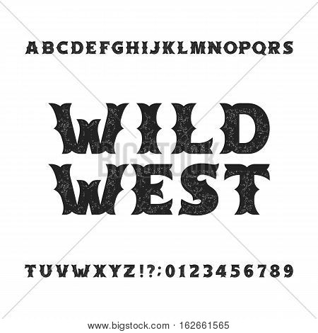 Vintage typeface. Retro distressed alphabet font. Wild west bold letters and numbers. Rough vector typeset for labels, headlines, posters etc.