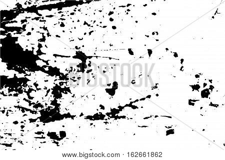 Grunge vector texture of weathered surface. Obsolete wood wall vector trace. Distressed effect layer with natural paint stains and blots. Black traced texture for vintage effect. Realistic old surface