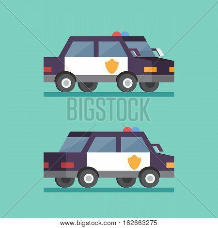 Police car. Security patrol criminal department. Vector transport car flat illustration