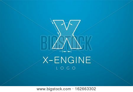 Logo Template Letter X In The Style Of A Technical Drawing
