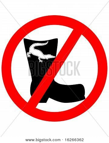 Detailed and colorful illustration of crocodile leather boots prohibited poster