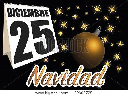 Dia de navidad. christmas day date in the calendar. December 25
