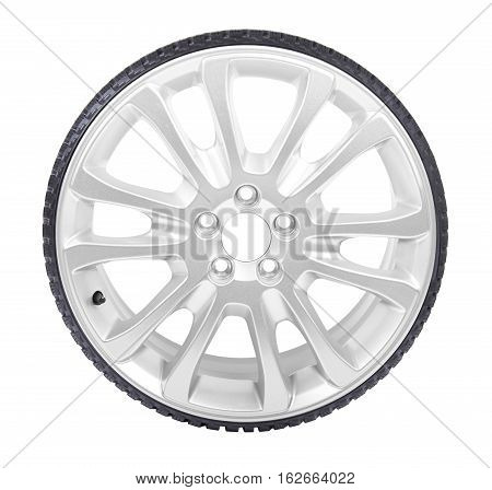 Car alloy wheel isolated on white background, with black tire