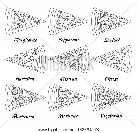 Nine pieces of hot delicious tasty pizza in line style. Vector illustration