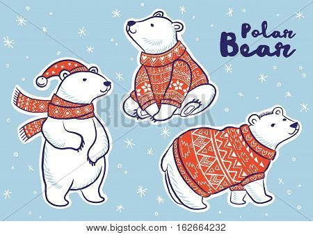 Stiker collection of polar bears in red sweater, scarf and hat. Vector illustration.