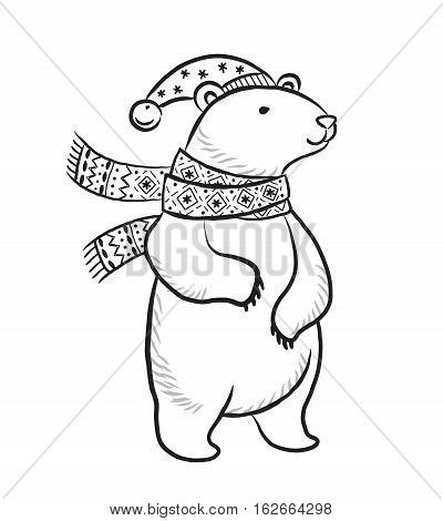 Vector hand drawn print with polar bear in black and white colors. Winter illustration. Coloring book page