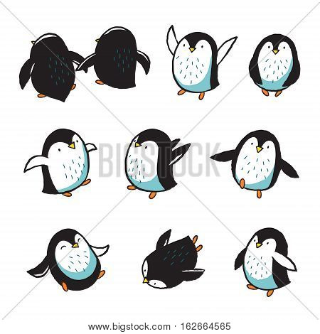 Collection of hand drawn cartoon penguins. Vector illustration.