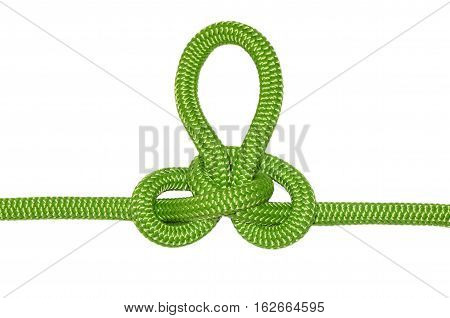 Austrian conductor knot. From the green rope isolated on a white background.