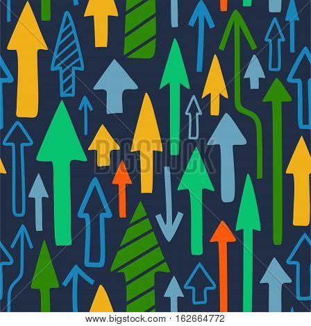 Arrows seamless background, dark blue, vector. Blue, green, orange and yellow vertical arrows on a dark blue field. Colored, flat background. For the decoration.