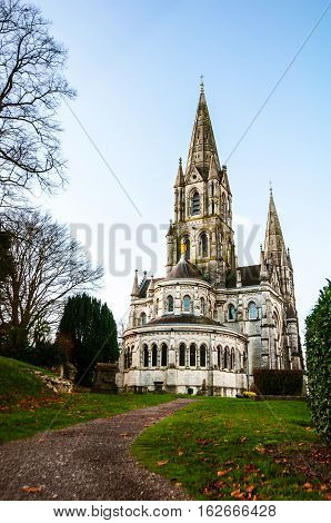 Cork Ireland. St Fin Barre cathedral with the park in Cork Ireland