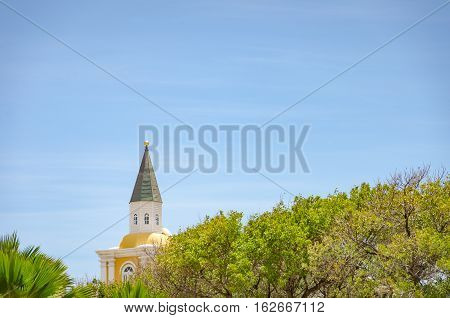 Detail Of A Church Tower Alone In Curacao