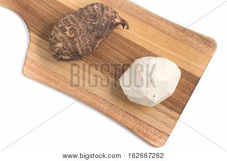 Yam Inhame Cara. Colocasia esculenta isolated on white background