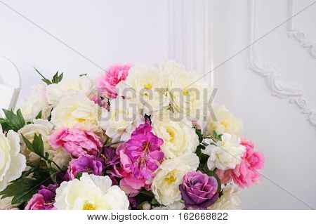 beautiful bouquet of flowers on a white background in the Studio.
