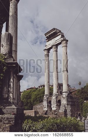 Palatine Ruins View In The City Of Rome