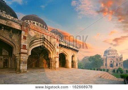 Bada Gumbad and Sheesh Gumbad Complex at early morning in Lodi Garden Monuments Delhi India