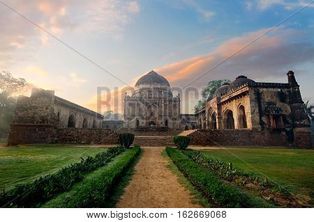 Bada Gumbad Complex at early morning in Lodi Garden Monuments Delhi India