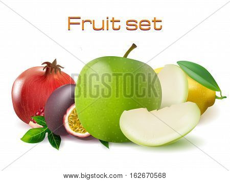 vector realistic 3d fruit set illustration. Passionfruit, pomegranate, lemon and apple image for banners, posters, advertisements, web design, caffees.