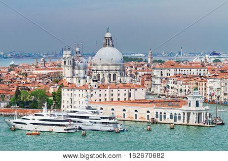 view of Basilica Santa Maria della Salute from above, Venice, Italy