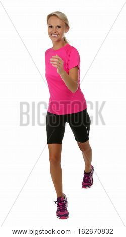 Healthy young blond lady jogging or running isolated on white