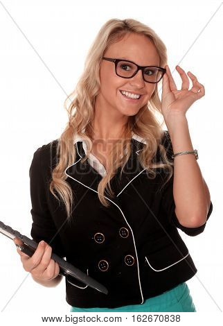 Pretty young smiling office lady with pen and clipboard