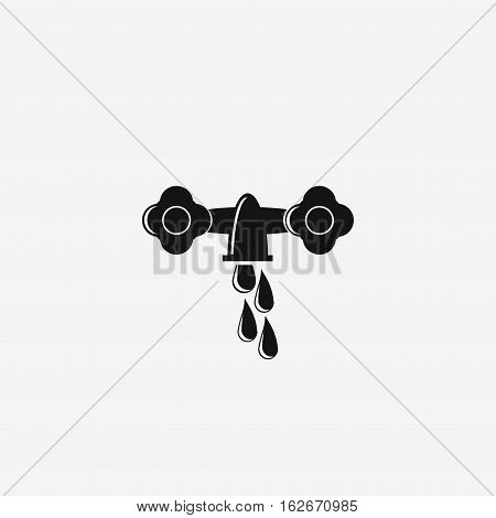 waste of water. Vintage tap is a vector illustration representing an old faucet with a drop of water coming out of it