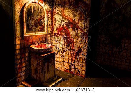 Bloody bathroom murder scene in a haunted house