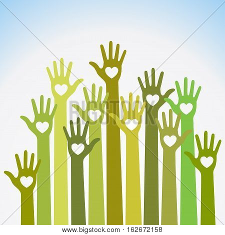 Green yellow colorful caring up hands hearts vector logo. Volunteers heart hands up vector emblem. Vector hands icon illustration. Education, Health Care, Medical, Volunteer, Vote Design Element
