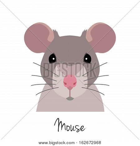 Vector rat head. Animal of Chinese zodiac symbol. flat cartoon style, grey mouse face isolated. Chinese year sign, poster, banner, print, advertisement, web design element.
