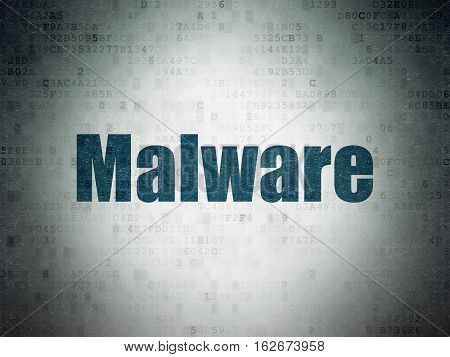 Protection concept: Painted blue word Malware on Digital Data Paper background